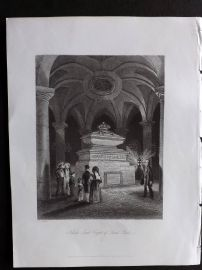 London Interiors 1841 Antique Print. Nelson's Tomb, Crypt of Saint Pauls